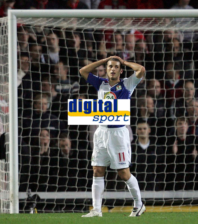 """Photo: Paul Thomas/Sportsbeat Images.<br /> Blackburn Rovers v Liverpool. The FA Barclays Premiership. 03/11/2007.<br /> <br /> Blackburn's David Bentley shows his frustration after hitting the """"up-right"""" of the goal."""