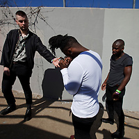 Picture shows :<br /> Alloysious Massaquoi,  Kayus Bankole and 'G' Hastings of Edinburgh band Young Fathers pictured in Austin, Texas ahead of their Creative Scotland showcase at the British Music Embassy at Latitude just off 6th street in downtown Austin.<br /> Picture  © Drew Farrell<br /> 11th March 2014<br /> Creative Scotland is supporting a Scottish music showcases at South by South West (SxSW), the world's most prestigious international showcase for contemporary music.  <br /> SxSW is one of the largest and most important events in the music industry calendar and recognised as providing an important platform for artists to develop their careers internationally.
