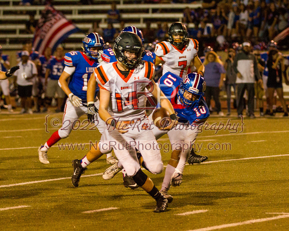 Cade Horton (#14) keeps the ball and runs past the Lions, Dylan Buchheit (#10)