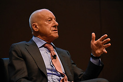 """© Licensed to London News Pictures. 23/05/2017. London, UK.   Press preview of """"Cartier in Motion"""", an exhibition on Cartier,  co-curated by celebrated architect Lord Norman Foster (pictured) and Design Museum director Deyan Sudjic, at the Design Museum in London.   The exhibition runs from 25 May to 28 July 2017. Photo credit : Stephen Chung/LNP"""