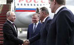 June 19, 2018 - ???, Belarus - June 19, 2018. - Belarus, Minsk. - Russian President Vladimir Putin arrives at Minsk Airport. 3rd right: Prime Minister of Belarus Andrei Kobyakov. (Credit Image: © face to face via ZUMA Press)