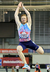 Great Britain's Greg Rutherford in the Men's Long Jump during the Muller Indoor Grand Prix at the Emirates Arena, Glasgow.