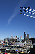 The Blue Angels fly over Safeco Field during a Mariners / Diaondbacks game at Safeco Field. (Dean Rutz / The Seattle Times, 2015)