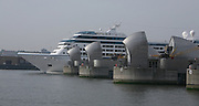 Azamara Journey in London for the first time.  The ship passing through the Thames Barrier as she leaves London....