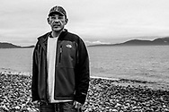 """Jay Julius,  Lummi tribal official.  """"The salmon are our buffalo.  We are walking on the stones our ancestors walked on 3,500 years ago"""".  Cherry Point, proposed terminal location."""
