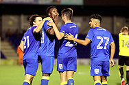 AFC Wimbledon Jayden Antwi (29) celebrating after scoring goal to make it 3-0 during the Pre-Season Friendly match between AFC Wimbledon and Burton Albion at the Cherry Red Records Stadium, Kingston, England on 21 July 2017. Photo by Matthew Redman.