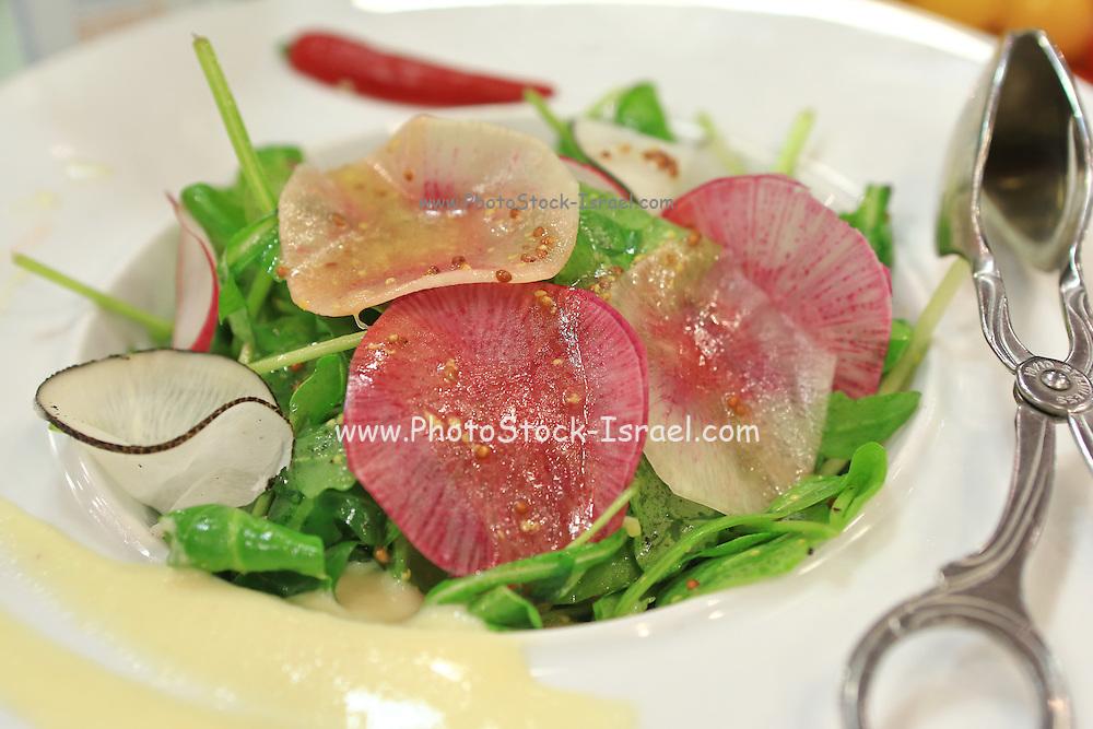 Garnished Green salad in white bowl