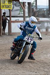 Hooligan flattracker no. 47 Jordan Graham racing his Indian in the Hooligan races on the temporary track in front of the Sturgis Buffalo Chip main stage during the Sturgis Black Hills Motorcycle Rally. SD, USA. Wednesday, August 7, 2019. Photography ©2019 Michael Lichter.