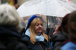 © Licensed to London News Pictures. 02/10/2021. Manchester, UK.  An Anti-Brexit protester  at a 'Brexit Isn't Working' protest in city centre on Saturday afternoon. Pro-EU groups came together in Manchester to demand that the UK return to the single market and customs union and reinstate freedom of movement for workers.  Photo credit: Adam Vaughan/LNP