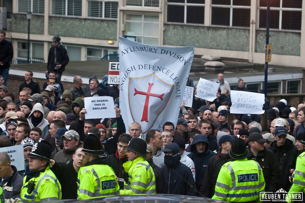 Hundreds of EDL (English Defence League) supporters gather in Nottingham for a planned demonstration against the Islamification of Britain.