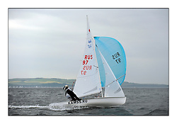 470 Class European Championships Largs - Day 1.Racing in grey and variable conditions on the Clyde..RUS97, Alisa KIRILYUK, Lyudmila DMITRIEVA, Moscow Sailing SChool