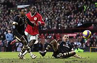 Photo: Paul Thomas.<br /> Manchester United v Charlton Athletic. The Barclays Premiership. 10/02/2007.<br /> <br /> Louis Saha (C) of Man Utd has this shot saved.