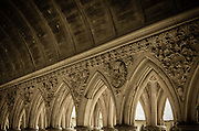 Arch detail in the abbey cloister, Mont Saint-Michel, Normandy, France