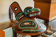 A ceremonial Tlingit wood hat in Alaska Indian Arts skill center. Fort William H. Seward National Historic Landmark, 1902-1945. Port Chilkoot, Haines, Alaska, USA. Also known as Chilkoot Barracks and Haines Mission, it was the last of 11 military posts in Alaska during the gold rush era, and Alaska's only military facility between 1925 and 1940. It policed miners moving into the gold mining areas in the Alaskan interior, and provided military presence during negotiations over the nearby international border with Canada. William H. Seward was the United States Secretary of State who oversaw the Alaska purchase.