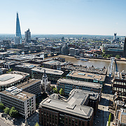 London's skyline as seen from the top of the dome of St Paul's Cathedral. At left is The Shard.