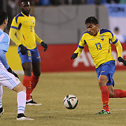 Angel Mena, Ecuador, in action during the Argentina Vs Ecuador International friendly football match at MetLife Stadium, New Jersey. USA. 31st march 2015. Photo Tim Clayton