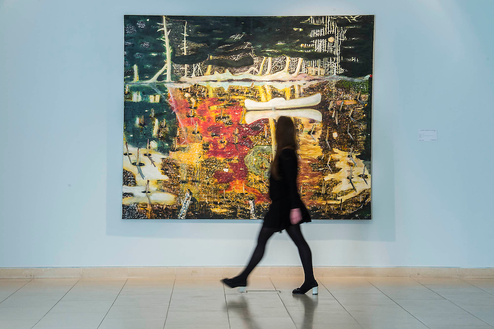 """Peter Doig, Swamped 1990, est $20-30m - Preview of almost fifty works from Christie's spring sales in New York of Impressionist, Modern, Post-War And Contemporary Art. The most expensive work is Les femmes d'Alger (Version """"O""""), 1955, by Pablo Picasso (1881-1973), estimate $140million. Other highlights include: Pablo Picasso (1881-1973), Femme à la résille, 1938 (est $55 million); Mark Rothko (1903 -1970), No. 36 (Black Stripe), 1958 (est: $30-50 million); Andy Warhol (1928-1987), Colored Mona Lisa, 1963 (est $40 million); Claude Monet (1840-1926), Le Parlement, soleil couchant, 1902 (est: $35-45 million); Jean Dubuffet, Paris Polka, 1961 (est $25 million); Piet Mondrian (1872-1944), Composition No.III (Composition with Red, Blue, Yellow and Black), 1929 (est: $15-25million); and Amedeo Modigliani (1884-1920), Portrait de Béatrice Hastings, 1916 (est $7-10million) from the Collection of John C. Whitehead. The works will be on view to the public from 11 to 16 April at Christie's King Street, London."""