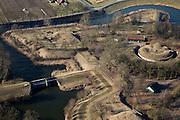Nederland, Gelderland, Gemeente Culemborg,  07-03-2010; Fort Everdingen, torenfort, onderdeel van de Nieuwe Hollandse Waterlinie, strategisch gelegen aan de uiterwaarden van de rivier de lek. Het fort is nog gebruik bij het Ministerie van Defensie, namelijk bij de Explosieven Opruimings Dienst (EOD) van de Koninklijke Landmacht..Fort Everdingen, fortress tower, part of the Waterlinie, strategically located on the floodplains of the River Lek. The fort is still used by the Ministry of Defence, namely by the Explosives Ordnance Disposal (EOD)..luchtfoto (toeslag), aerial photo (additional fee required).foto/photo Siebe Swart