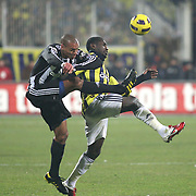 Besiktas's Matteo FERRARI (L) and  Fenerbahce's Mamadou NIANG (R) during their Turkish Superleague Derby match Besiktas between Fenerbahce at the Inonu Stadium at Dolmabahce in Istanbul Turkey on Sunday, 20 February 2011. Photo by TURKPIX