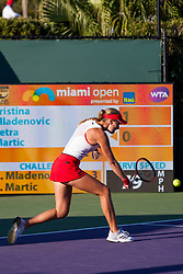 March 23, 2018 - Key Biscayne, FL, U.S. - KEY BISCAYNE, FL - MARCH 23: Kristina Mladenovic (FRA) in action on Day 5 of the Miami Open at Crandon Park Tennis Center on March 23, 2018, in Key Biscayne, FL. (Photo by Aaron Gilbert/Icon Sportswire) (Credit Image: © Aaron Gilbert/Icon SMI via ZUMA Press)