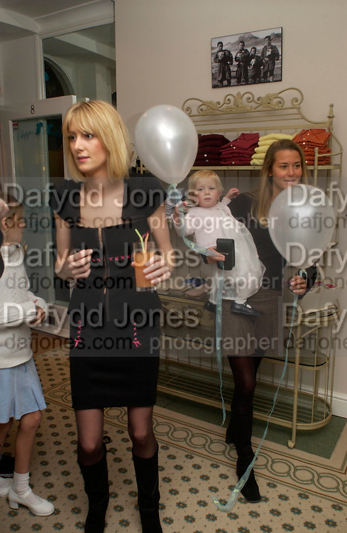 Lady Emily Compton, Countess Lucy Compton and Lady theodora Compton, Chippi Hacki launch party.New children's clothes shop by Lady Emily Compton. 8 Motcomb St. London SW1. ONE TIME USE ONLY - DO NOT ARCHIVE  © Copyright Photograph by Dafydd Jones 66 Stockwell Park Rd. London SW9 0DA Tel 020 7733 0108 www.dafjones.com