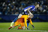 Sheffield Wednesday forward Steven Fletcher (9)  steps over Sheffield United goalkeeper Dean Henderson (1)  during the EFL Sky Bet Championship match between Sheffield Wednesday and Sheffield United at Hillsborough, Sheffield, England on 4 March 2019.