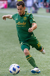 November 4, 2018 - Portland, OR, U.S. - PORTLAND, OR - NOVEMBER 04: Portland Timbers midfielder Sebastián Blanco sends a cross during the Portland Timbers first leg of the MLS Western Conference Semifinals against the Seattle Sounders on November 04, 2018, at Providence Park in Portland, OR. (Photo by Diego Diaz/Icon Sportswire) (Credit Image: © Diego Diaz/Icon SMI via ZUMA Press)