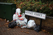 Rubbish is dumped on the street in Wapping on 26th November 2019 in London, England, United Kingdom. Waste left on the street is one of the main causes of litter in the UK.