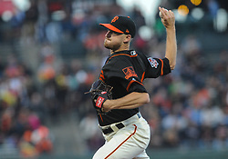 April 23, 2018 - San Francisco, CA, U.S. - SAN FRANCISCO, CA - APRIL 23: San Francisco Giants starting pitcher Chris Stratton (34) throws a pitch in the first inning during the regular season baseball game between the San Francisco Giants and the Washington Nationals on April 23, 2018 at AT&T Park in San Francisco,CA (Photo by Samuel Stringer/Icon Sportswire) (Credit Image: © Samuel Stringer/Icon SMI via ZUMA Press)
