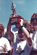 Tracy Edwards MBE holds aloft the Beefeater Trophy on board Maiden in Perth, Australia during the Whitbread race in 1989.<br /> <br /> Tracy Edwards MBE and crew have been reunited with Maiden 27 years after sailing into the history books. Maiden and her all-female crew competed in the Whitbread Round The World Race in 1989/90 winning two legs and coming second overall. Over the next 12 months, Maiden will be restored in Hamble near Southampton. She will then sail around the world as an ambassador for the Maiden Factor, to promote access to education for girls.<br /> Picture date: Monday April 24, 2017.<br /> Photograph by Christopher Ison © Empics<br /> 07544044177<br /> chris@christopherison.com<br /> www.christopherison.com