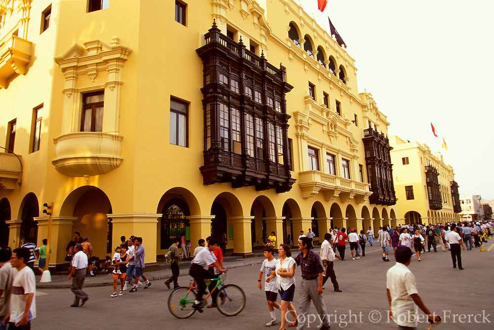 PERU, LIMA, COLONIAL colonial buildings with balconies