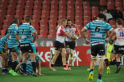 South Africa - Johannesburg, Emirates Airlines Park. 24/08/18  Currie Cup. Lions vs Griquas. Tyrone Green congratulates  Courtnall Skosan after he scored a try.<br /> 2nd half.  Picture: Karen Sandison/African News Agency(ANA)