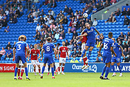 Cardiff City defender Aden Flint (5) competes for a high ball with Bristol City's Chris Martin (9) during the EFL Sky Bet Championship match between Cardiff City and Bristol City at the Cardiff City Stadium, Cardiff, Wales on 28 August 2021.