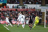 Fernando Llorente of Swansea city © heads and scores his teams 1st goal. Premier league match, Swansea city v Everton at the Liberty Stadium in Swansea, South Wales on Saturday 6th May 2017.<br /> pic by  Andrew Orchard, Andrew Orchard sports photography.