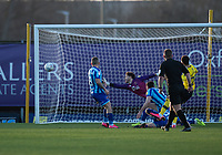 Oxford United's Nathan Holland (right) shot at goal goes wide<br /> <br /> Photographer David Horton/CameraSport<br /> <br /> The EFL Sky Bet League One - Oxford United v Blackpool - Saturday 1st February 2020 - Kassam Stadium - Oxford<br /> <br /> World Copyright © 2020 CameraSport. All rights reserved. 43 Linden Ave. Countesthorpe. Leicester. England. LE8 5PG - Tel: +44 (0) 116 277 4147 - admin@camerasport.com - www.camerasport.com