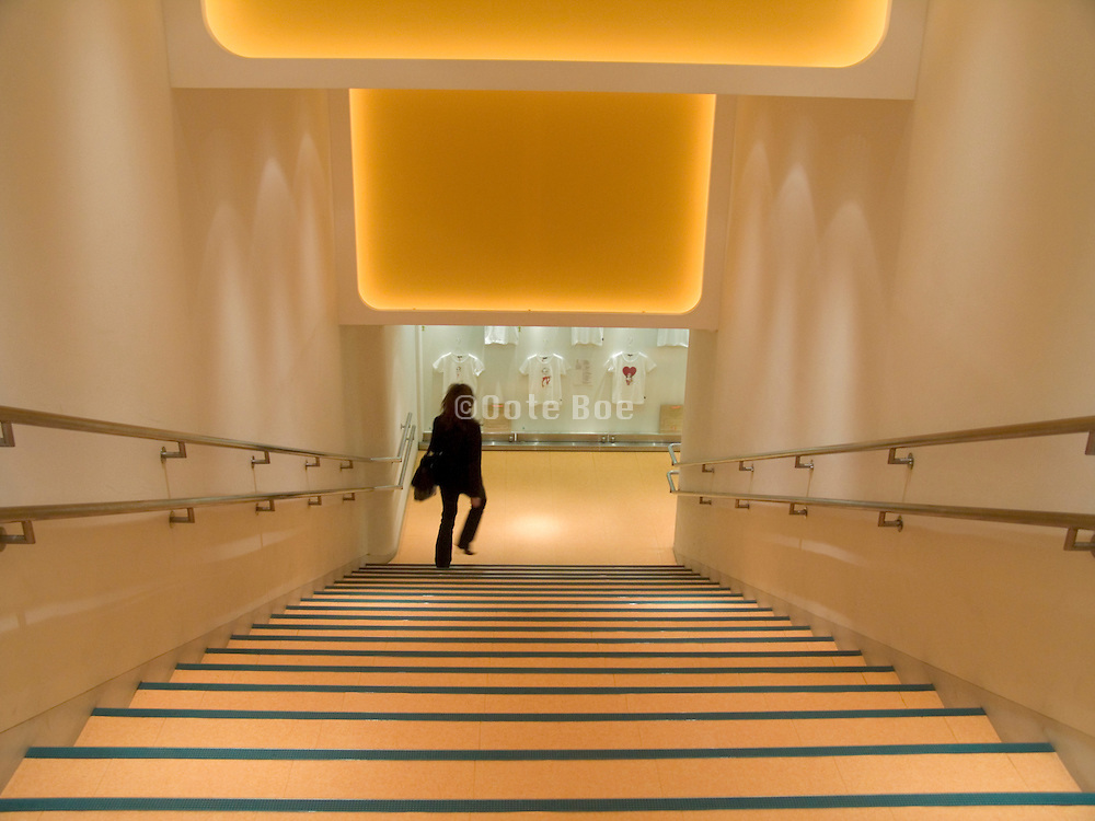 A stairwell with a woman descend the stairs