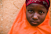 Girl posing for a portrait after being vaccinated against meningitis at a MSF vaccination site in the village of Soura Aladay near Maradi, Niger on Friday April 17, 2009.