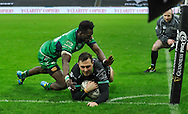 TRY - Ashley Beck of the Ospreys dives over and scores his sides fourth try .<br /> <br /> Guinness Pro12 rugby match, Ospreys v Connacht rugby at the Liberty Stadium in Swansea, South Wales on Saturday 7th January 2017.<br /> pic by Craig Thomas, Andrew Orchard sports photography.