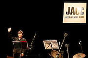 """French clarinetist Louis Sclavis salutes the audience at the end of a performance. """"Jazz ao Centro"""" jazz festival is held twice a year in portuguese town of Coimbra."""