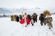 Nikolaus, Buttnmandl, Ganggerl und Kramperl: The 'Bass' of the Unterstoana Buttnmandl.<br /> <br /> Reportage about the old tradition in Schönau am Königssee, Berchtesgaden Land, Germany on December 5, 2017