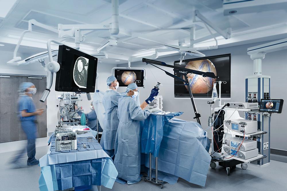 Commercial photo of surgery at Landmark Hospital.  Rotator Cuff Repair using Speedbridge.