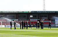 Hull City's players inspect the pitch<br /> <br /> Photographer Mick Walker/CameraSport<br /> <br /> The EFL League 1 - Crewe Alexandra v Hull City  - Friday 2nd April  2021 - Alexandra Stadium-Crewe<br /> <br /> World Copyright © 2020 CameraSport. All rights reserved. 43 Linden Ave. Countesthorpe. Leicester. England. LE8 5PG - Tel: +44 (0) 116 277 4147 - admin@camerasport.com - www.camerasport.com