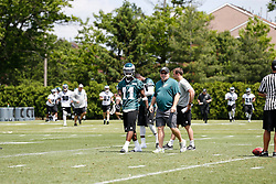 Philadelphia Eagles wide receiver Josh Huff #11 walks with Head Coach Chip Kelly during the NFL football rookie camp at the teams practice facility on Saturday, May 17, 2014. (Photo by Brian Garfinkel)