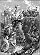 Indian Mutiny (Sepoy Mutiny) 1857-59: Desperate defence of the fort at Futtegurgh where 150 British, of whom only one quarter could bear arms, were under siege. Some of the women, including widow of a sergeant who had been killed, fought side-by-side with the soldiers.  Illustration published London c1880