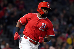 March 25, 2019 - Anaheim, California, U.S. - Luis Rengifo of the Los Angeles Angels against the Los Angeles Dodgers during a preseason baseball game at Anaheim Stadium on Monday, March 25, 2019 in Anaheim, California. (Credit Image: © Keith Birmingham/SCNG via ZUMA Wire)