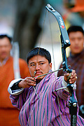 Archer at archery festival, Paro, Bhutan