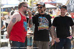 Grant Peterson welcomed Harpoon and Jeff Leighton on the stage at the Born Free chopper show. Silverado, CA. USA. Sunday June 24, 2018. Photography ©2018 Michael Lichter.