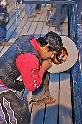 praying bull rider, Jackson Hole Rodeo