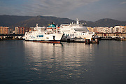 Ferries at ferry terminal at Port of Algeciras, Spain