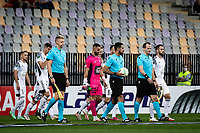 MARIBOR, Slovenia - SEPTEMBER 16: Players of NS Mura entering the pitch before the UEFA Conference League match between Mura and Vitesse at Stadion Ljudski vrt on September 16, 2021 in Maribor, Slovenia
